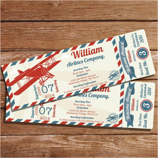 Vintage Airplane Birthday Invitations Ticket Party Invitation Create Your Own