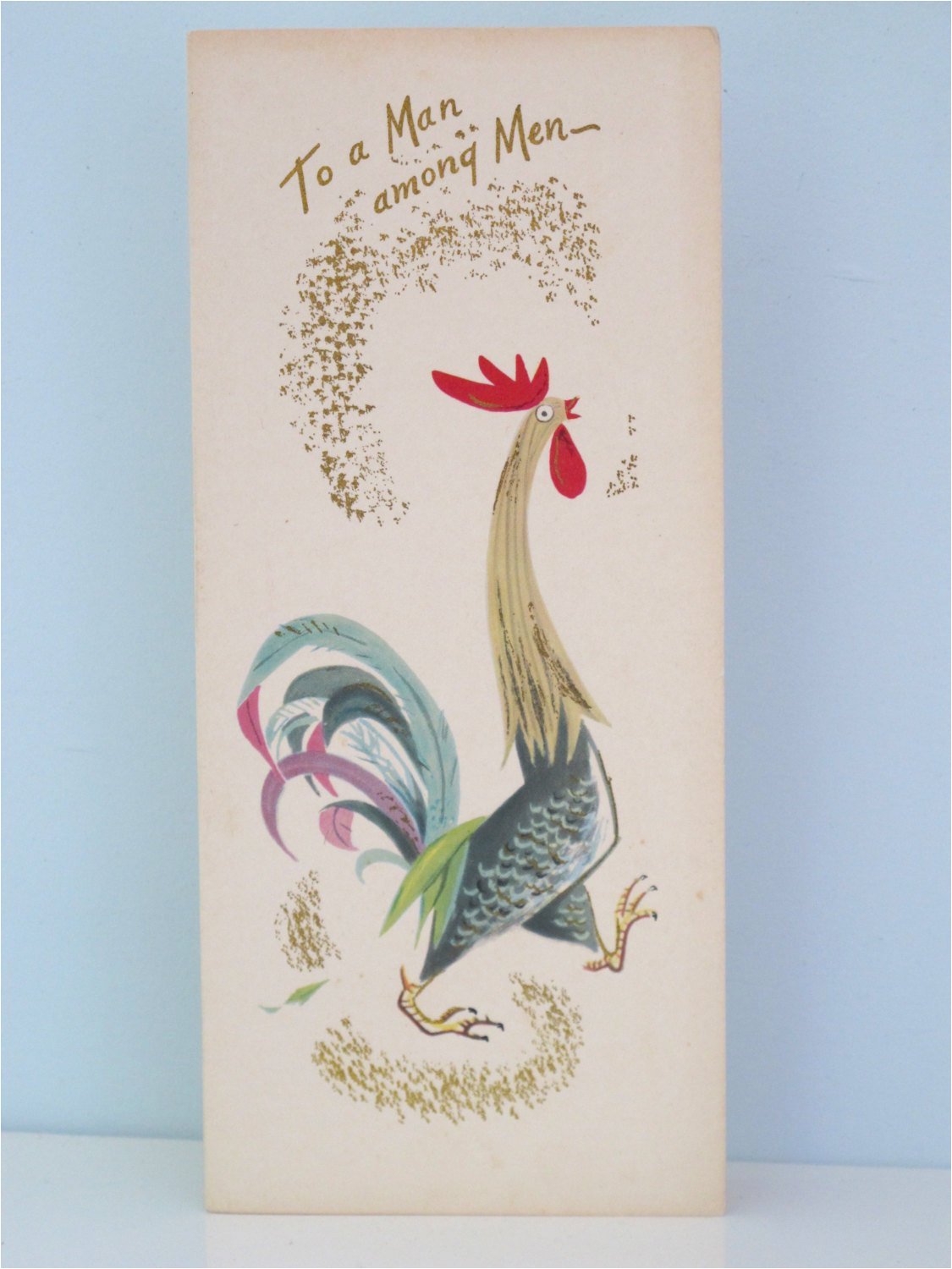 rooster vintage birthday card to a man among men fravessi