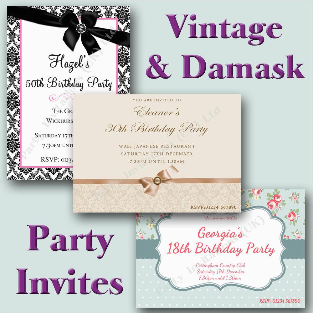 Vintage Style Birthday Invitations Vintage Damask Style Birthday Party Invitations 18th