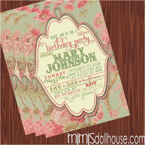 Vintage Style Birthday Invitations Vintage Invitation Printable Vintage Floral Birthday