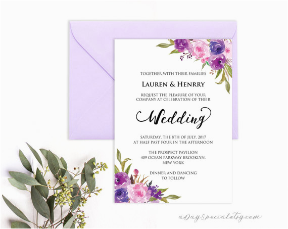 Lavender Invitation Template Purple