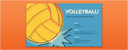 Volleyball Birthday Invitations Sports Leagues Free Online