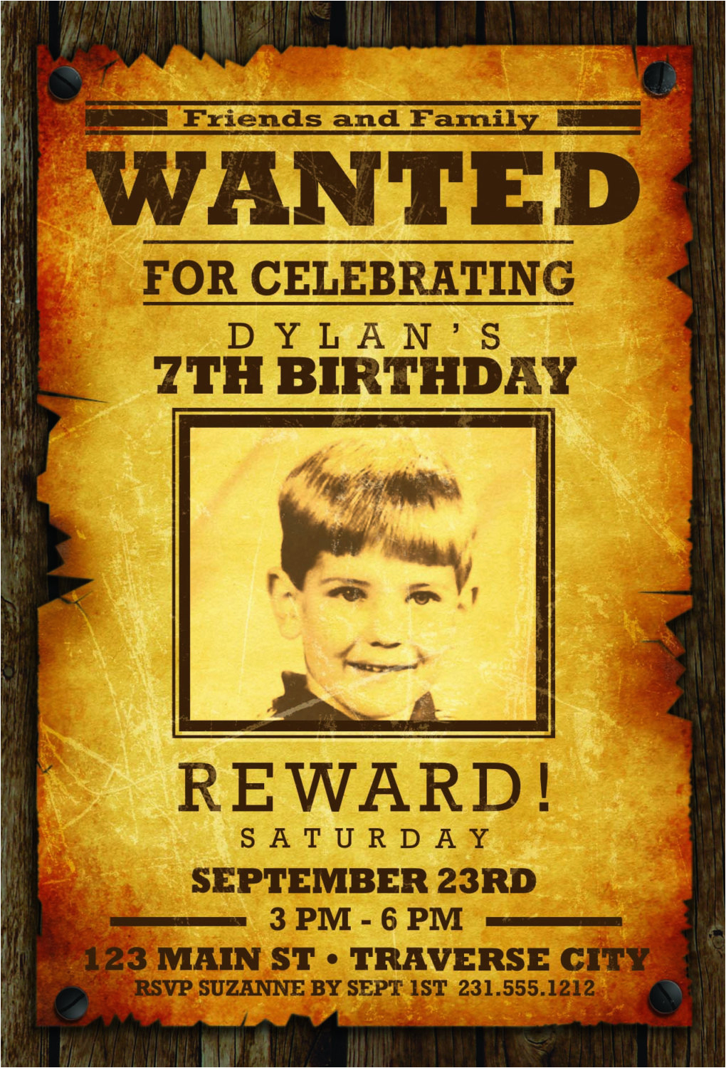 wanted poster invitation for kids cowboy western birthday