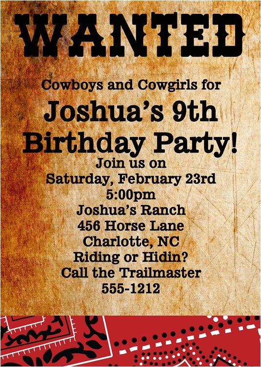wanted poster western birthday invitations bagvania free