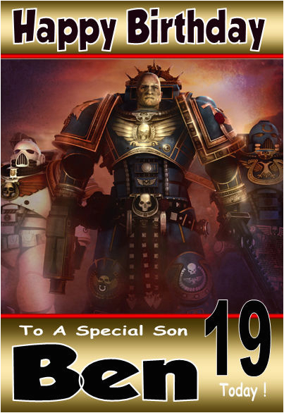 Warhammer Birthday Card Warhammer 4 Gamer Unique Personalised Birthday Card