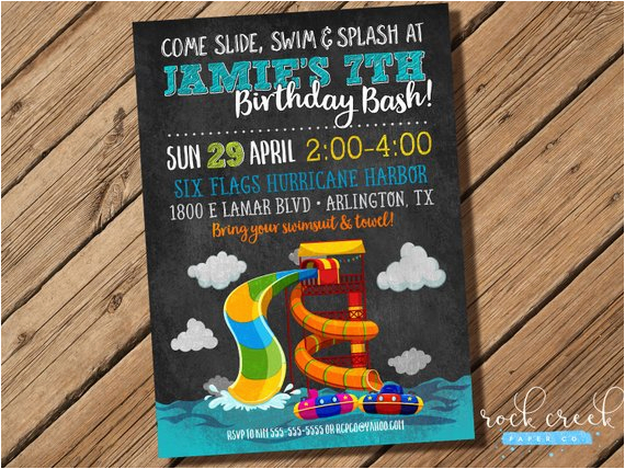 Water Park Birthday Invitations Waterpark Party Invitation Slide Wave Pool