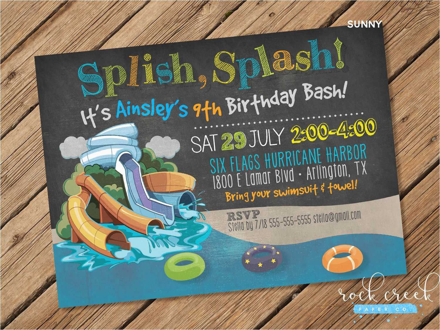 Water Park Birthday Invitations Waterpark Party Invitation Water