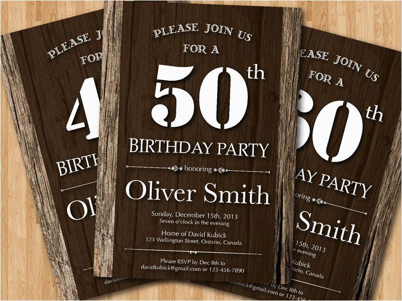 50th adult birthday invitation wood