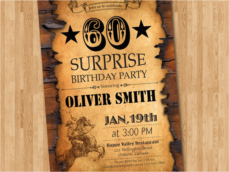 60th Birthday Invitation Western