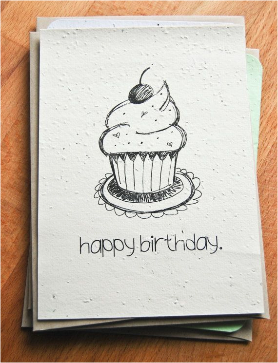 plantable seed paper happy birthday card hand illustrated