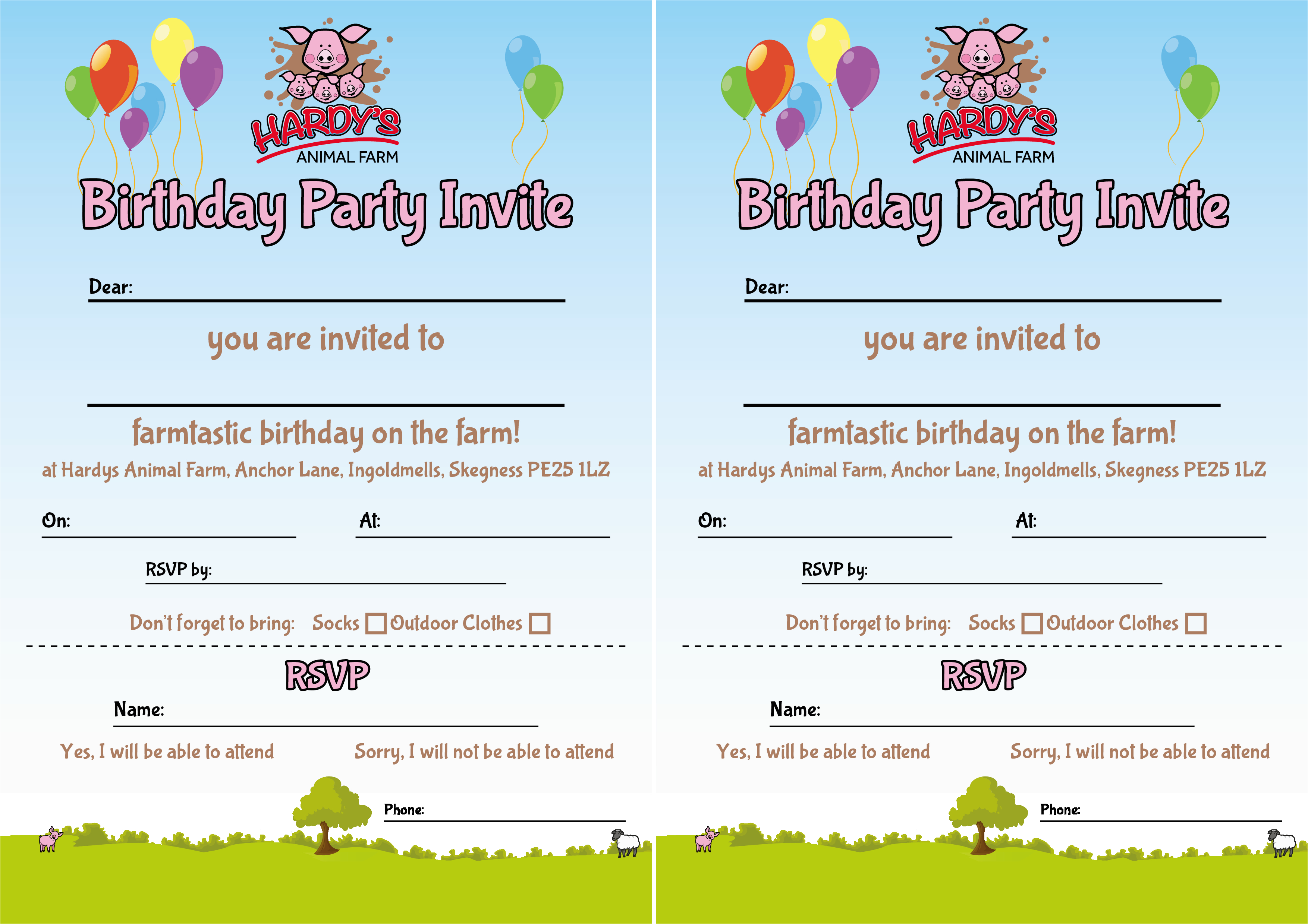 What to Include In A Birthday Invitation Party Invites Hardys Animal Farm