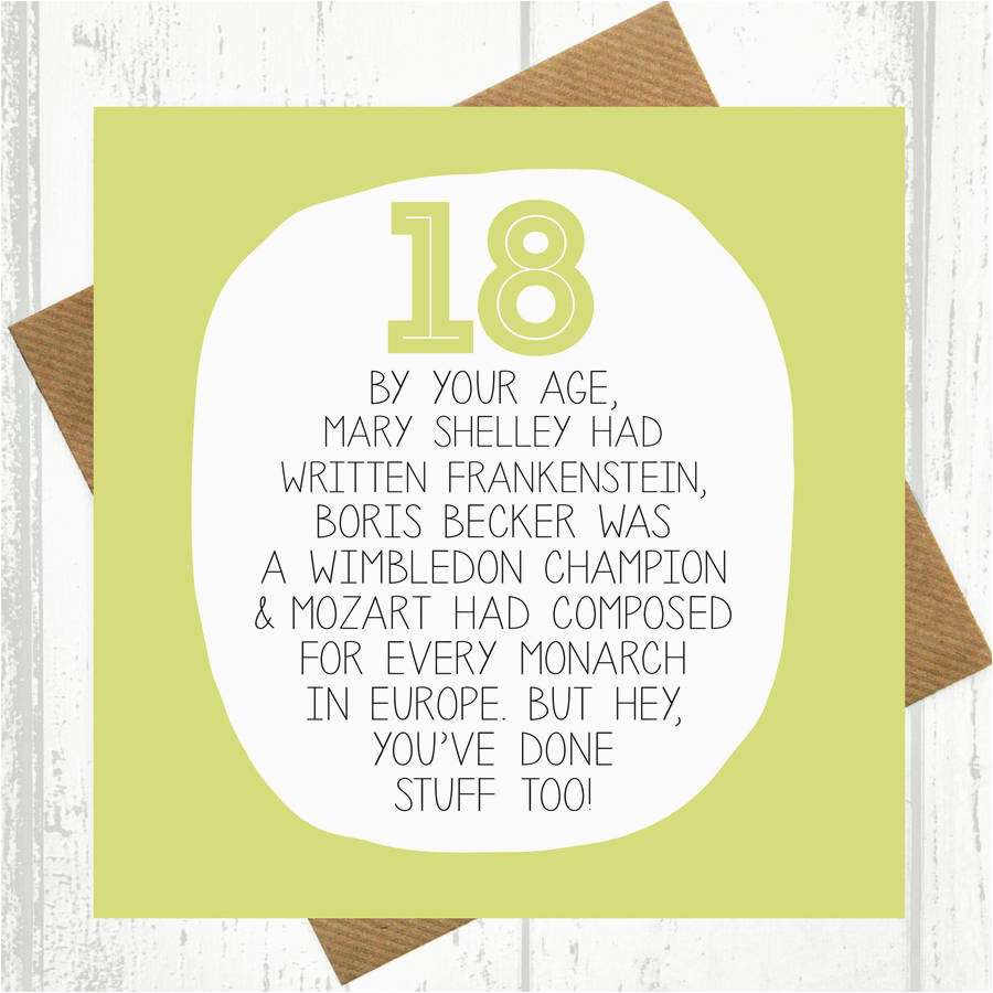What to Write In An 18 Birthday Card by Your Age Funny 18th Birthday Card by Paper Plane