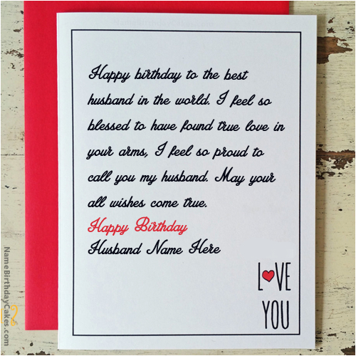 What To Write In Husband S Birthday Card Name On Love For