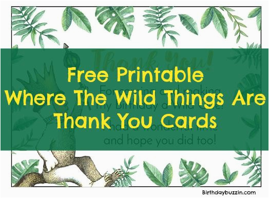 free printable where the wild things are thank you cards