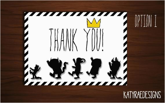 where the wild things are birthday thank you by katyraedesigns