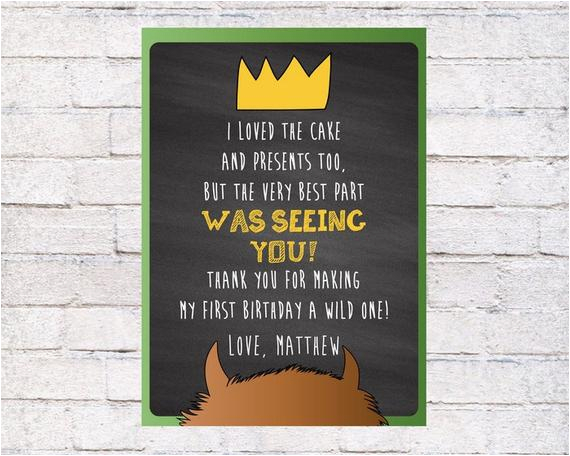 where the wild things are thank you card wild things