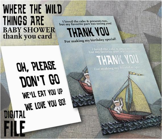 where the wild things are theme birthday party thank you card
