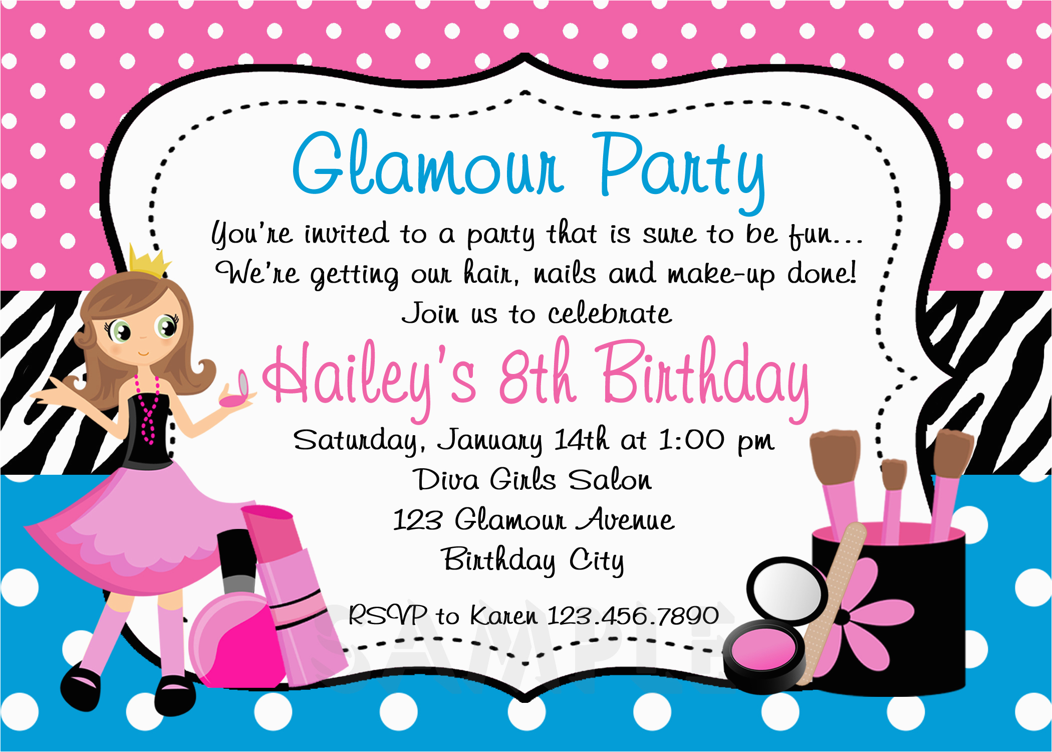 Where to Make Birthday Invitations Printable Birthday Invitations Girls Glamor Beauty Party