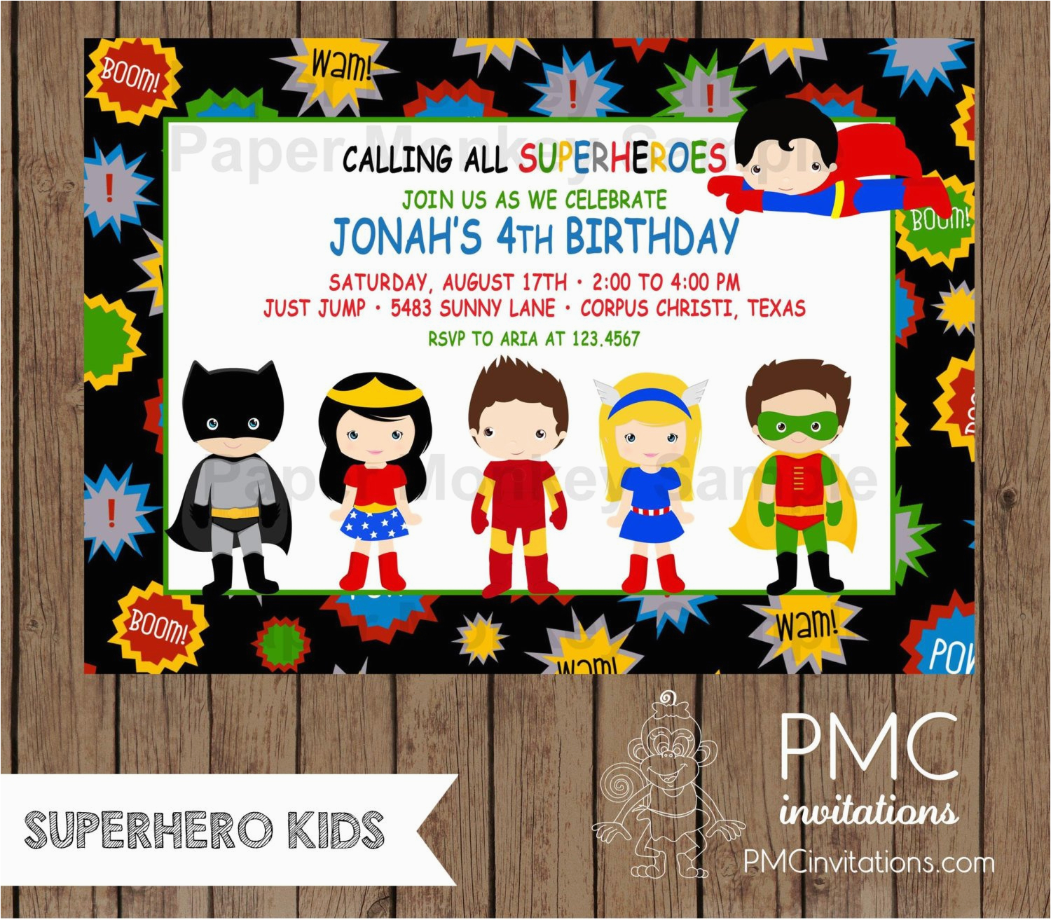 Where To Order Birthday Invitations Custom Printed Superhero 1 00 Each With