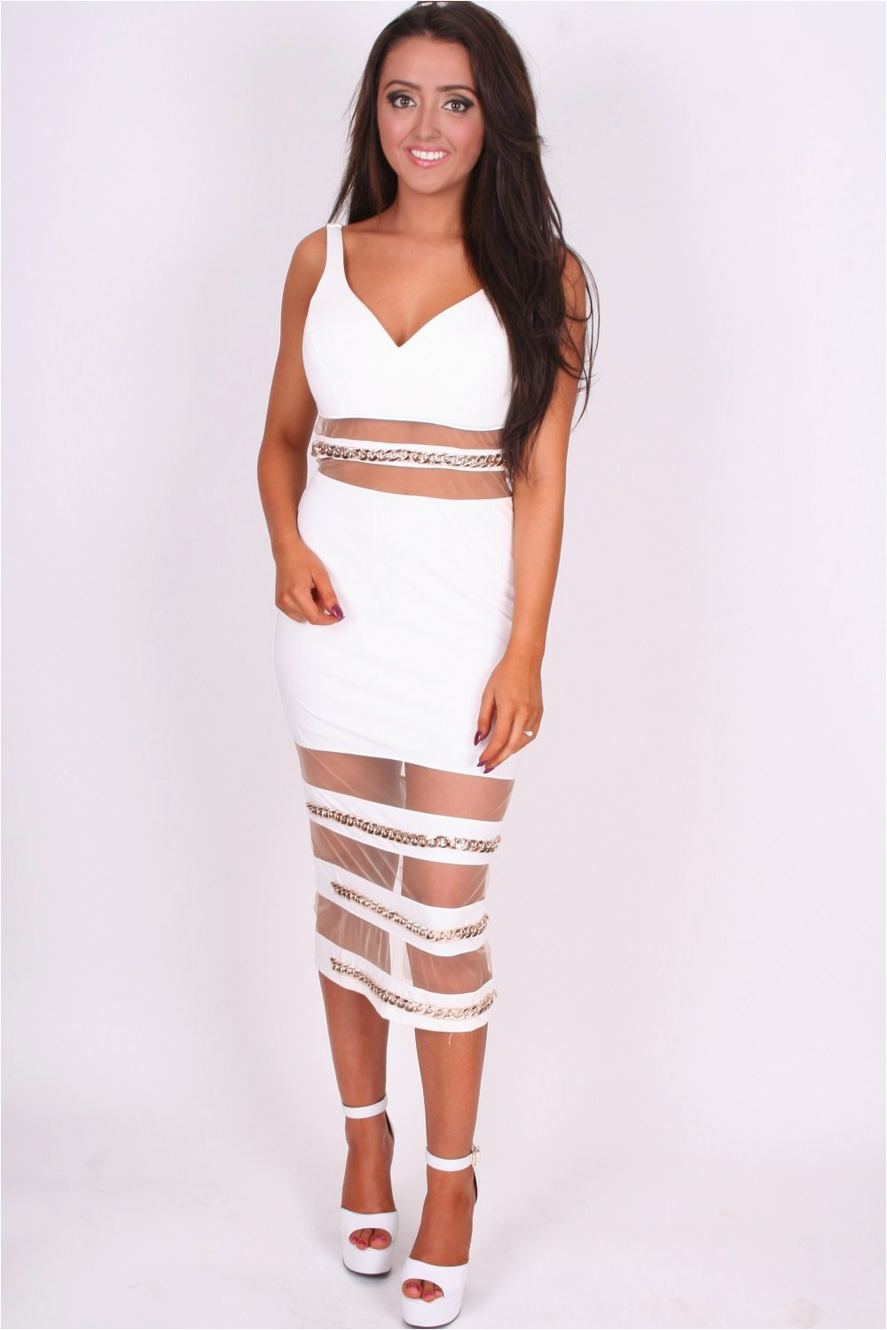 the gallery for gt white and gold bodycon dress