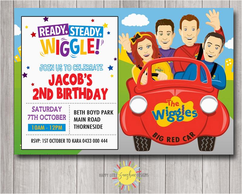 Wiggles Birthday Invitations Printable Custom Wiggles Printable Birthday Party Invitation Big Red