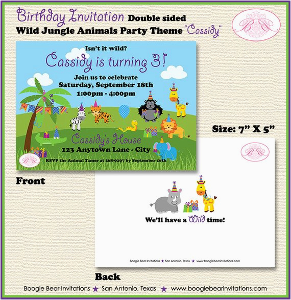 wild animals birthday party invitation