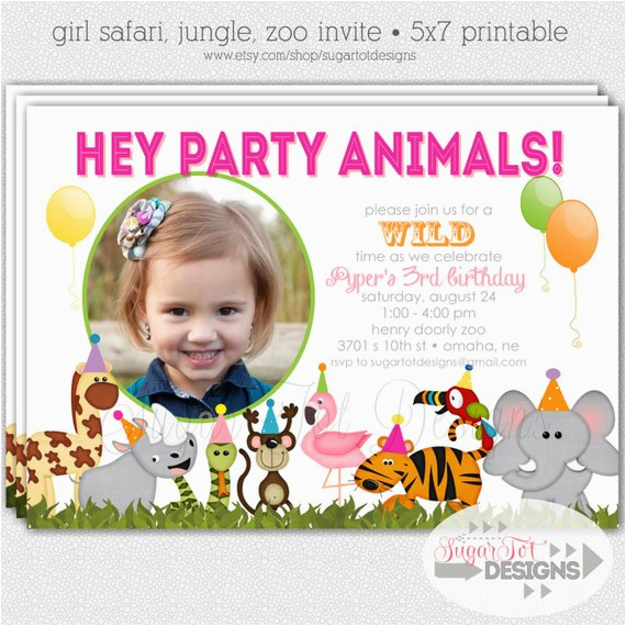 zoo birthday party invitation safari