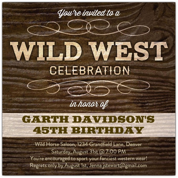 Wild West Birthday Invitations Wild West Celebration Birthday Invitations Paperstyle