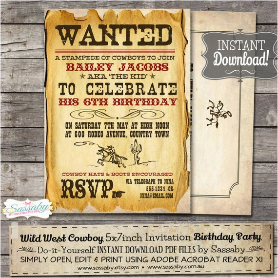wild west cowboy boys party invitation