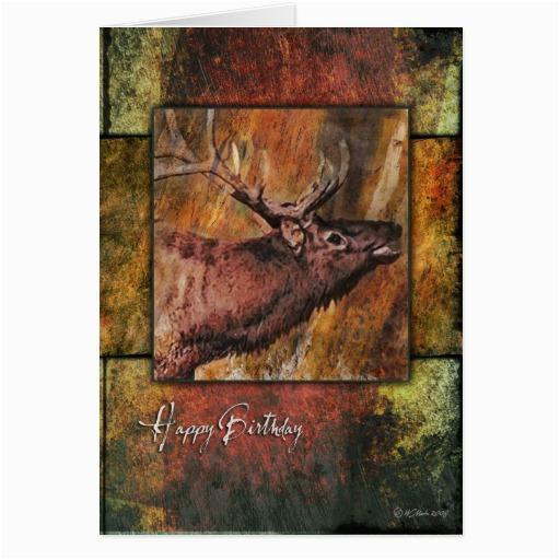 rustic elk wildlife birthday card greeting cards 137384209833801186