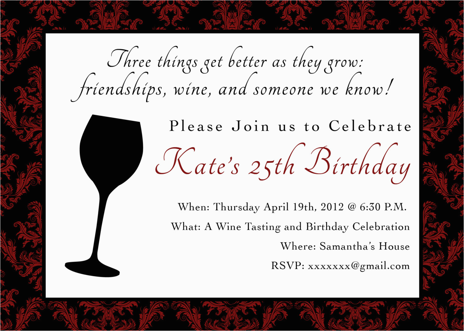 Wine Themed Birthday Invitations Printable Party Invitation 5 X 7