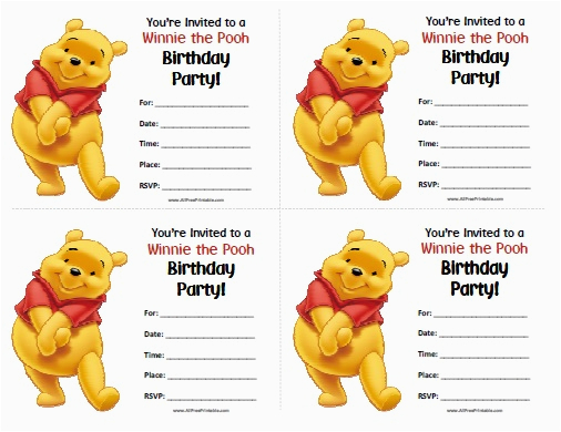 Winnie the Pooh Birthday Invitations Free Printable Winnie the Pooh Birthday Invitations Free Printable
