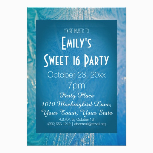 Winter Themed Birthday Invitations Wonderland Ice Theme Blue Sweet 16 Custom