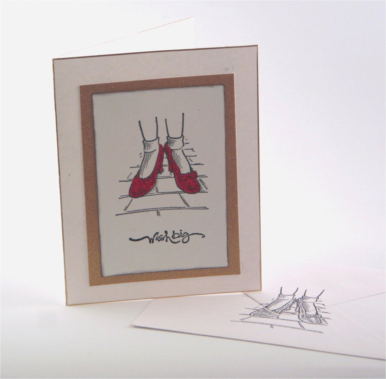 wizard of oz birthday card wish big red ruby slippers fun