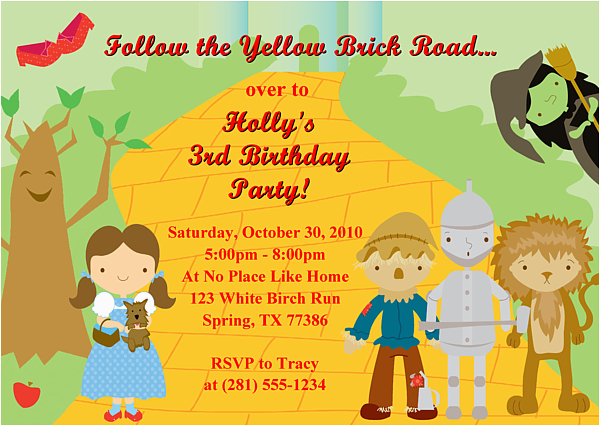 wizard of oz birthday party invitations ideas