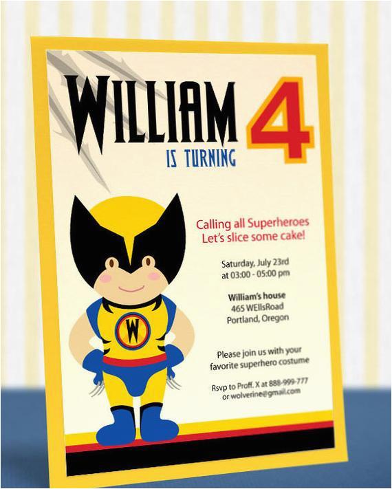 Wolverine Birthday Invitations Printable Diy Superheroes Xmen Party