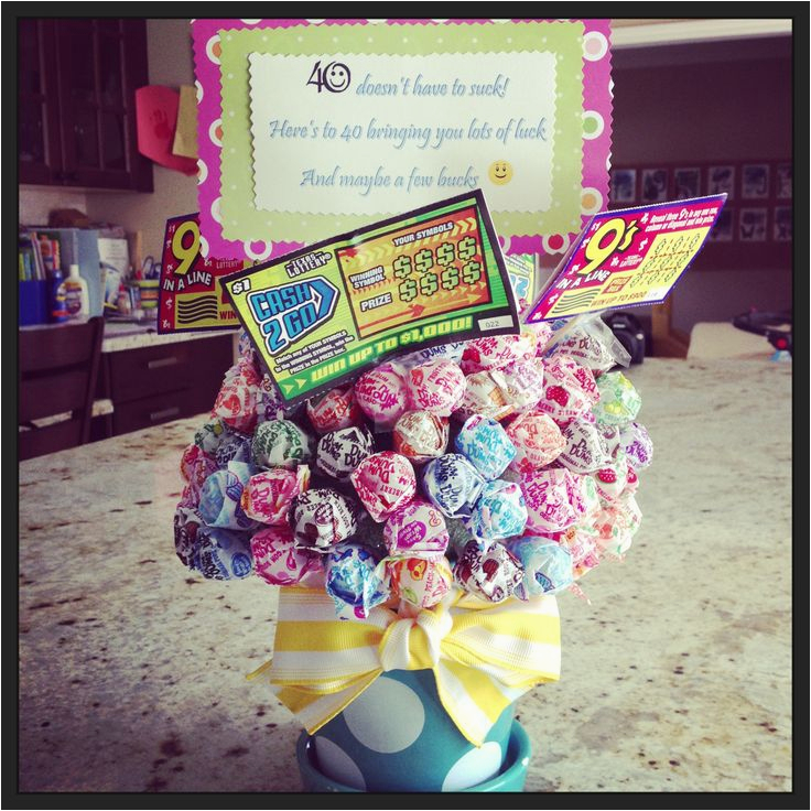 Womans 40th Birthday Ideas 40th Birthday Gift Sucker Bouquet with Lotto Tickets