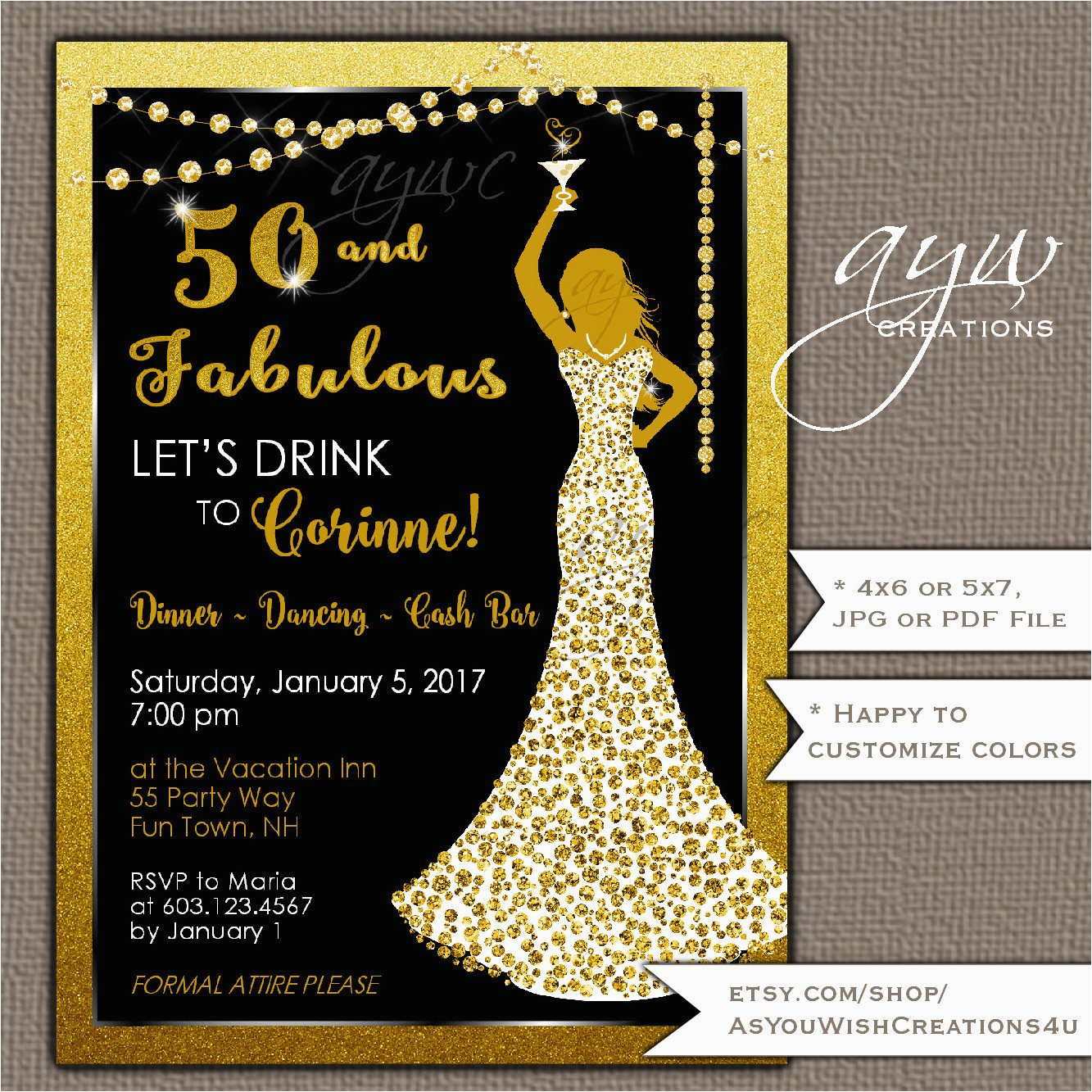 Womans 50th Birthday Decorations Party Invitations Woman Bling Dress 40th