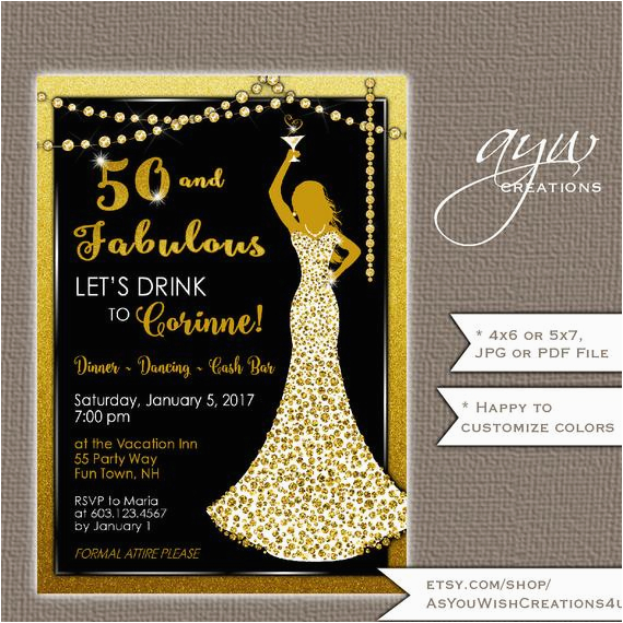 Womans 50th Birthday Invitations Party Woman Bling Dress 40th