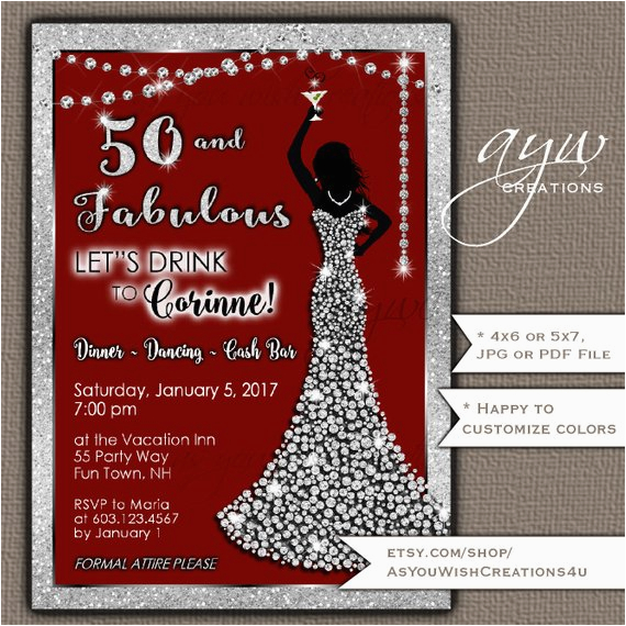 Womans 50th Birthday Invitations Party Woman Bling Dress Fifty