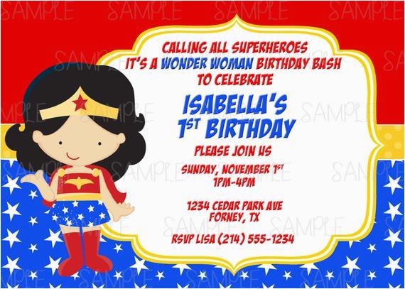 Wonder Woman Birthday Card Printable Party Invitation Plus Free