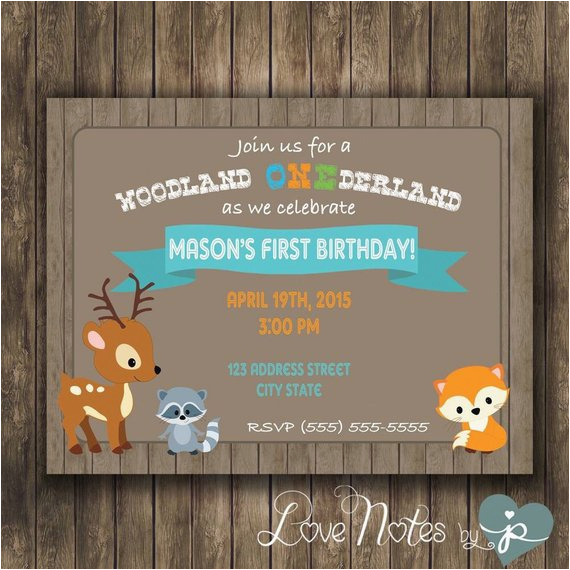 Woodland Onederland Birthday Invitations Digital First Party By