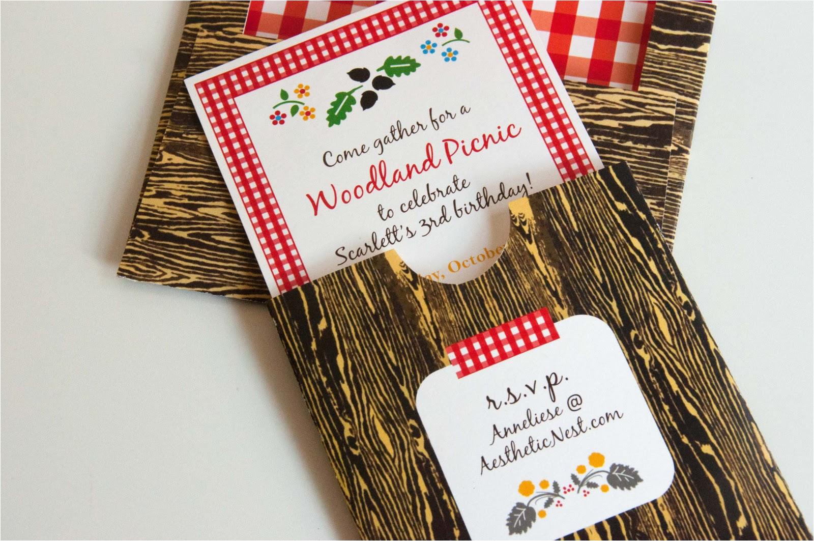 invites woodland picnic birthday