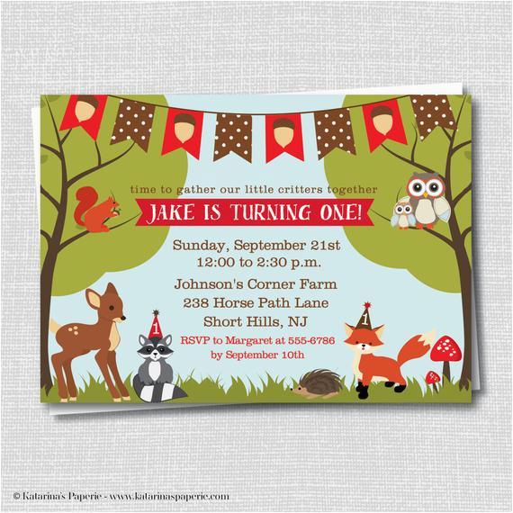 Woodland themed Birthday Invitations Woodland Animals Birthday Invitation Woodland by