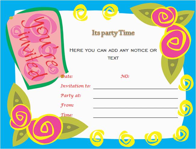 Word Birthday Invitation Template Birthday Party Invitations Microsoft Word Templates