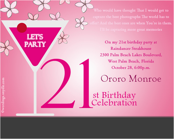 Wording For 21st Birthday Invitation Party Wordings And Messages