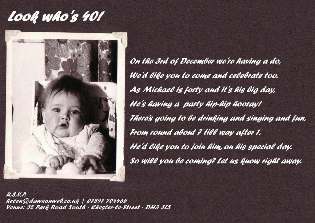 Wording For 40th Birthday Party Invitations Invitation Free Printable