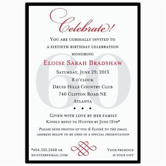 Wording For 60th Birthday Party Invitations Invitation Templates