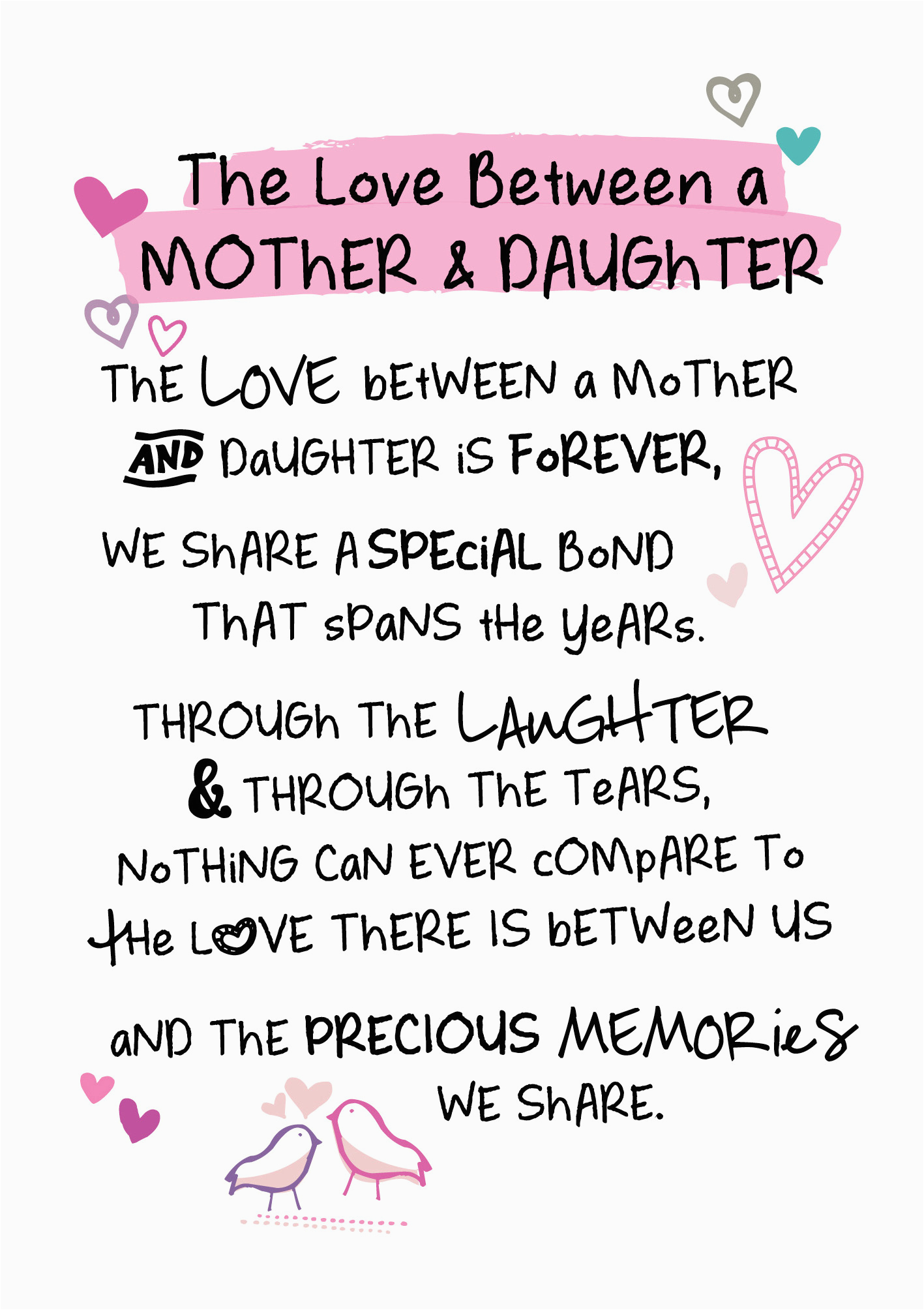 mother daughter love inspired words greeting card blank
