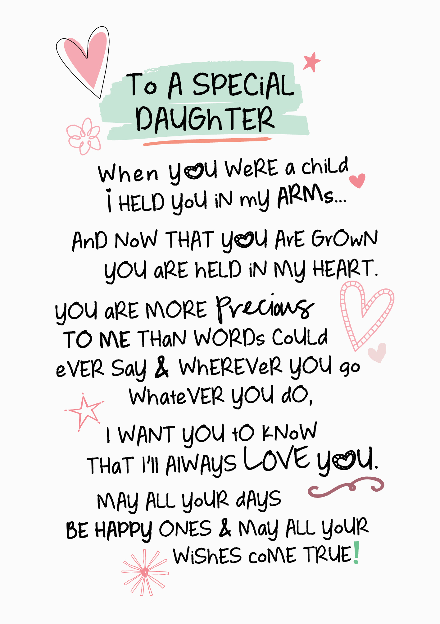 Words for Daughters Birthday Card Special Daughter Inspired Words Greeting Card Blank Inside